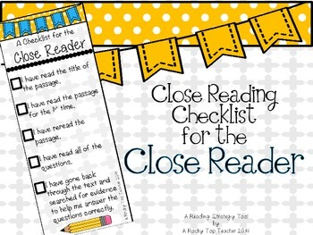 Close Reading Checklist Bookmark