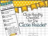 Close Reading Checklist Bookmark