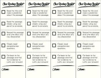 Close Reading Checklist Bookmarks