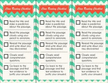 Close Reading Checklist - Chevron Style