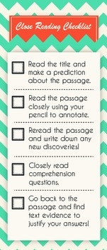 Close Reading Checklist - Chevron Style