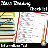 Stem Questions for Reading Standards Close Reading - Informational Text