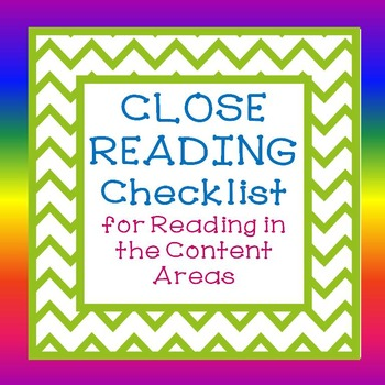 Close Reading Checklist for Informational Text