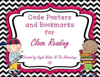Close Reading Code Posters and Bookmarks