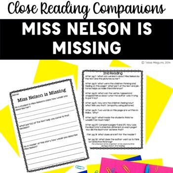 Close Reading Companion: Miss Nelson is Missing