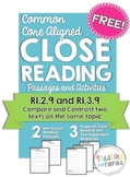 Close Reading - Compare and Contrast Two Texts FREEBIE (RI.2.9, RI.3.9)
