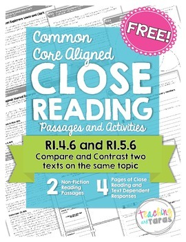 Close Reading - Compare and Contrast Two Texts... by Alyssha ...