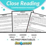 Close Reading Comprehension Passages Bundle - Grades 6-8