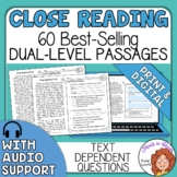 Close Reading Comprehension Passages and Questions Reading