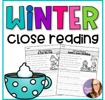 close reading comprehension printable worksheets winter by elementary at heart. Black Bedroom Furniture Sets. Home Design Ideas