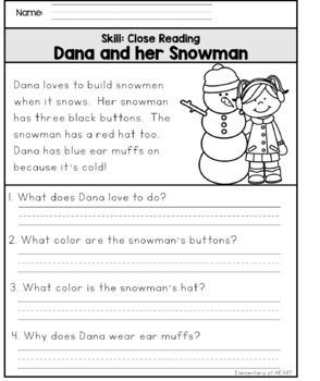 Close Reading Comprehension Printable Worksheets- Winter