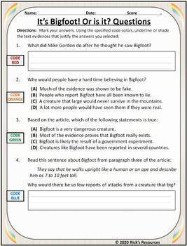 Close Reading Comprehension Text Evidence Grade 5