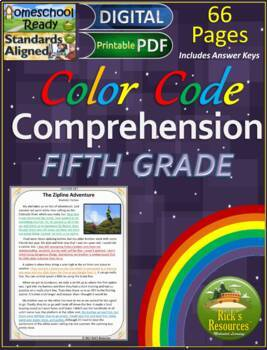 Close Reading Comprehension Color-Coding Text Evidence 5th Grade