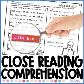 Close Reading Comprehension fact opinion and -ce -ge -dge