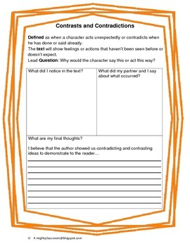 Close Reading Constrasting and Contradicting Partner Discussion