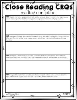 Close Reading Constructed Response Questions (CRQs)