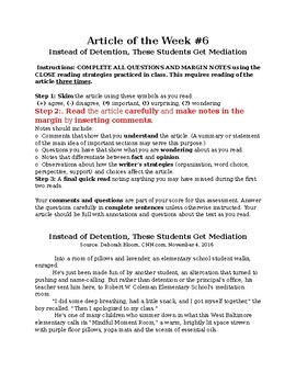 Close Reading: Detention or Mediation?
