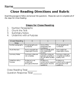 Close Reading Directions and Rubric