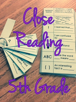 Close Reading Discussion Guide and Bookmark Fifth Grade