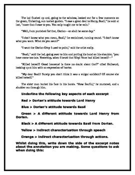 Close Reading - Dorian Gray