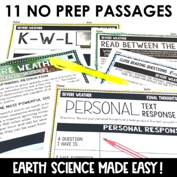 Earth Science Reading Passages Differentiated Close Reading