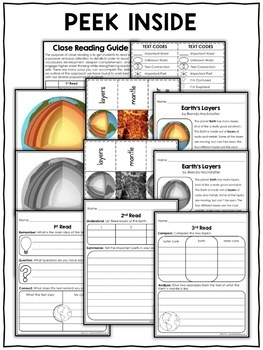 Close Reading Passage - Earth Layers Activities