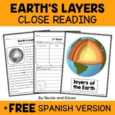 Earth Layers Close Reading Passage Activities