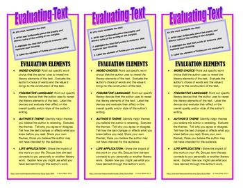 Close Reading: Evaluating Fictional Text Bookmark