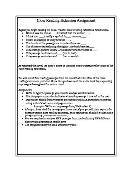 Close Reading Extensions