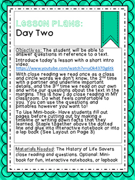 Close Reading FREEBIE- The History of Lifesavers