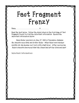 Close Reading-Fact Fragment Frenzy