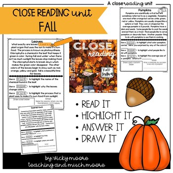 Close Reading { Fall themed } Non - Fiction Text