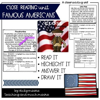 Close Reading { Famous Americans Edition } Non - Fiction Text
