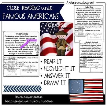 Close Reading { Famous Americans Edition } Non - Fiction Text