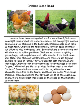 Close Reading ~ Farm Animals: Expository Text