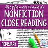 February Nonfiction Close Reading Comprehension Passages a