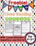 Close Reading Fiction FREEBIE!  Comprehension and More!