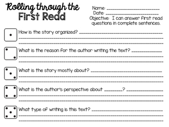 Close Reading - First Reading Activities