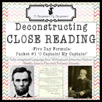 Close Reading, Five Day Formula! Packet #1 'O Captain! My Captain!'