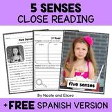 Five Senses Close Reading Passage Activities
