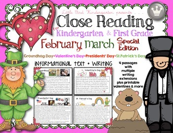 Close Reading For Kindergarten & First Grade: February Mar