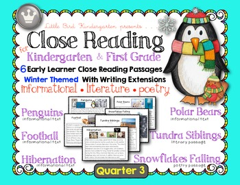 Close Reading For Kindergarten & First Grade: Quarter 3 Winter Set of 6