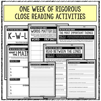 Pearl Harbor Attack Close Reading Activity