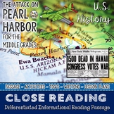Pearl Harbor Attack Close Reading Passage Differentiated Close Reading