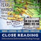 Pearl Harbor Attack Close Reading Passage Differentiated Close Reading