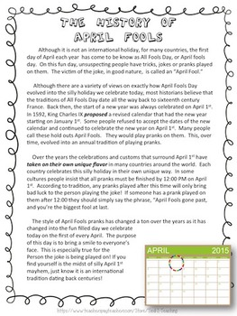 History of: April Fool's Day ~ Close Reading