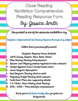 Close Reading Form: A Response Page for Nonfiction Reading Comprehension