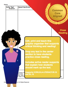 Close Reading Paste-Print-Teach Template
