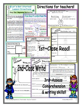 Story Elements; Close Reading;Fun for Kids~Easy for Teachers!  K - 2