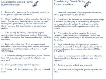 Close Reading: Genetic Testing